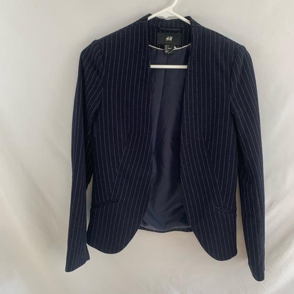 H&M blue and grey pinstriped blazer coat